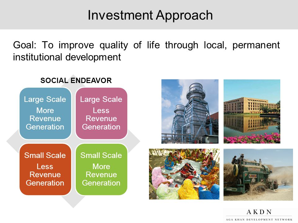 Investment Approach Goal: To improve quality of life through local, permanent institutional development Large Scale More Revenue Generation Large Scal