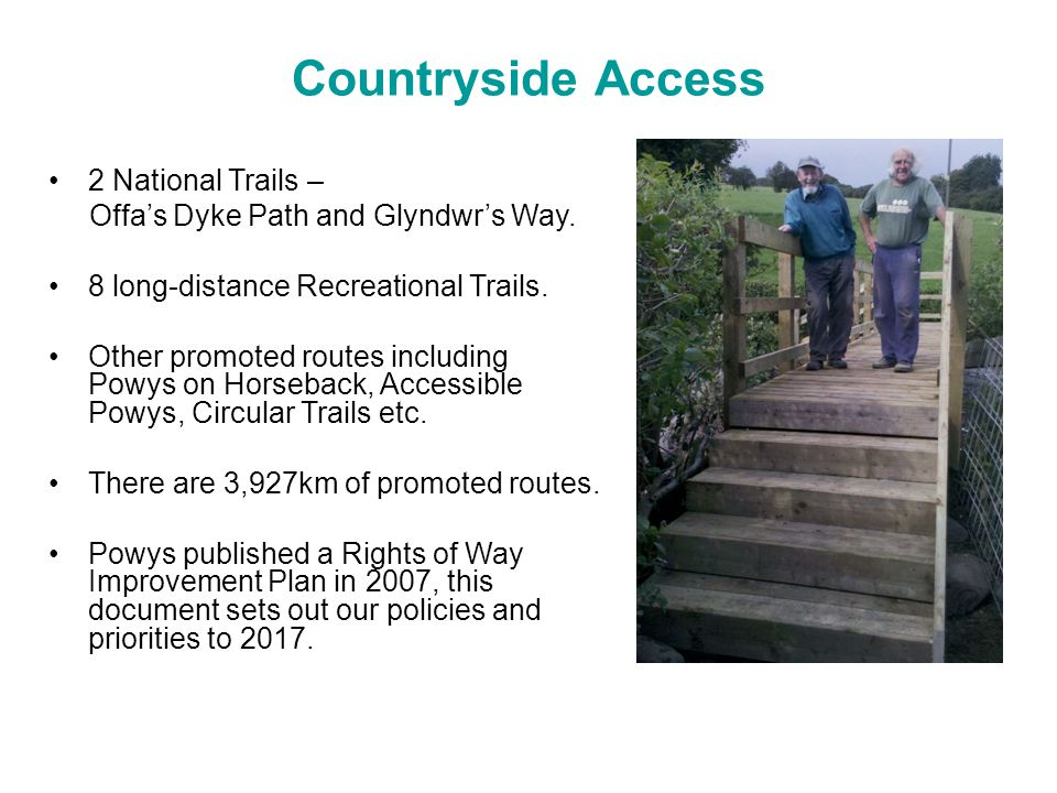 Countryside Access 2 National Trails – Offa's Dyke Path and Glyndwr's Way.