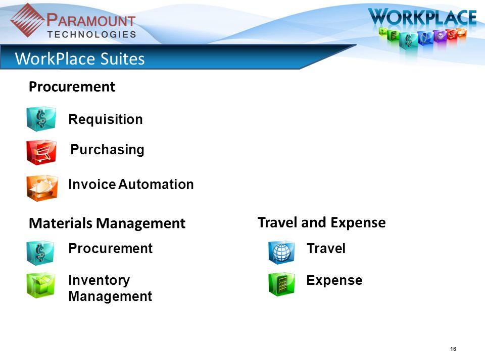 16 WorkPlace Suites Purchasing Invoice Automation Procurement Inventory Management Procurement Materials Management Travel Expense Travel and Expense Requisition