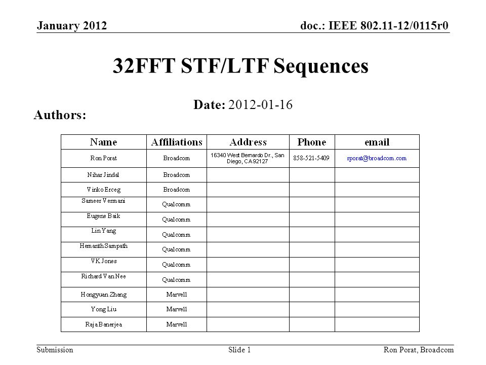 doc.: IEEE 802.11-12/0115r0 Submission January 2012 Ron Porat, Broadcom 32FFT STF/LTF Sequences Date: 2012-01-16 Authors: Slide 1