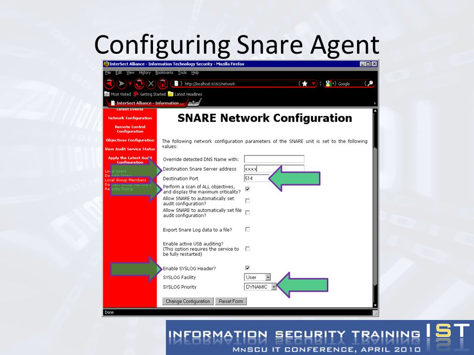 Configuring Snare Agent