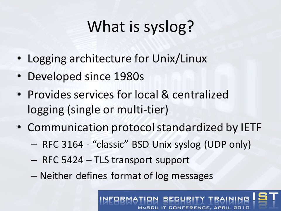 Configuring Network Devices Most managed network devices support logging to central syslog server Many configurable via web/GUI interfaces Sample Cisco IOS configuration: Core-6500#conf term Enter configuration commands, one per line.