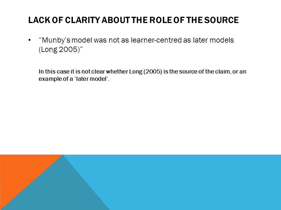 "LACK OF CLARITY ABOUT THE ROLE OF THE SOURCE ""Munby's model was not as learner-centred as later models (Long 2005)"" In this case it is not clear wheth"