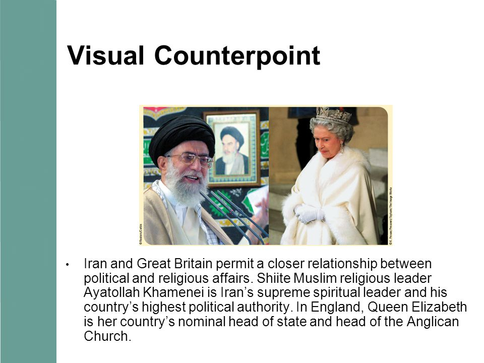 Visual Counterpoint Iran and Great Britain permit a closer relationship between political and religious affairs.