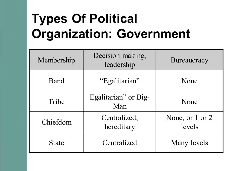 Types Of Political Organization: Government Membership Decision making, leadership Bureaucracy Band Egalitarian None Tribe Egalitarian or Big- Man None Chiefdom Centralized, hereditary None, or 1 or 2 levels StateCentralizedMany levels