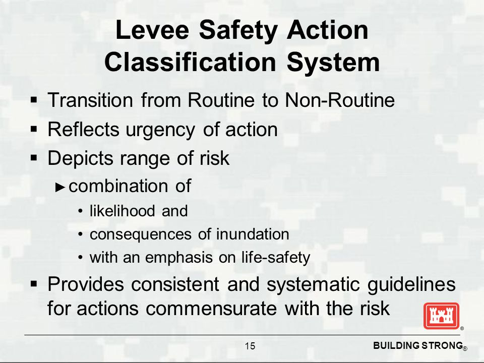 BUILDING STRONG ® Levee Safety Action Classification System  Transition from Routine to Non-Routine  Reflects urgency of action  Depicts range of risk ► combination of likelihood and consequences of inundation with an emphasis on life-safety  Provides consistent and systematic guidelines for actions commensurate with the risk 15