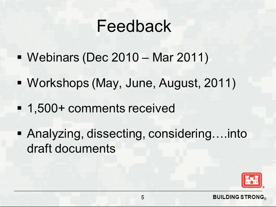 BUILDING STRONG ® Feedback  Webinars (Dec 2010 – Mar 2011)  Workshops (May, June, August, 2011)  1,500+ comments received  Analyzing, dissecting,