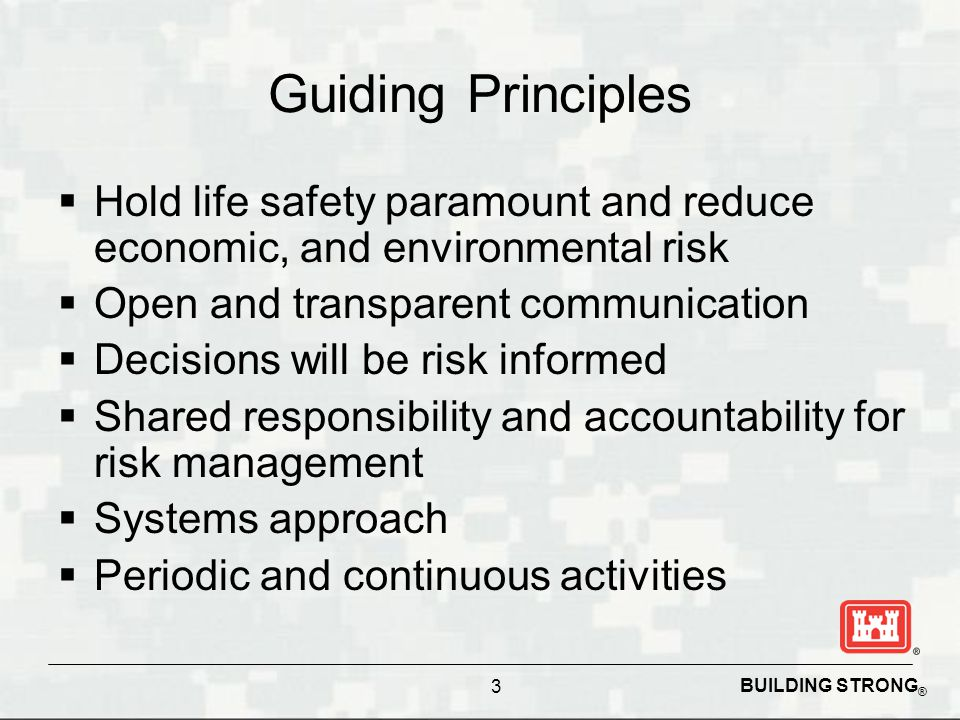 BUILDING STRONG ®  Hold life safety paramount and reduce economic, and environmental risk  Open and transparent communication  Decisions will be risk informed  Shared responsibility and accountability for risk management  Systems approach  Periodic and continuous activities Guiding Principles 3