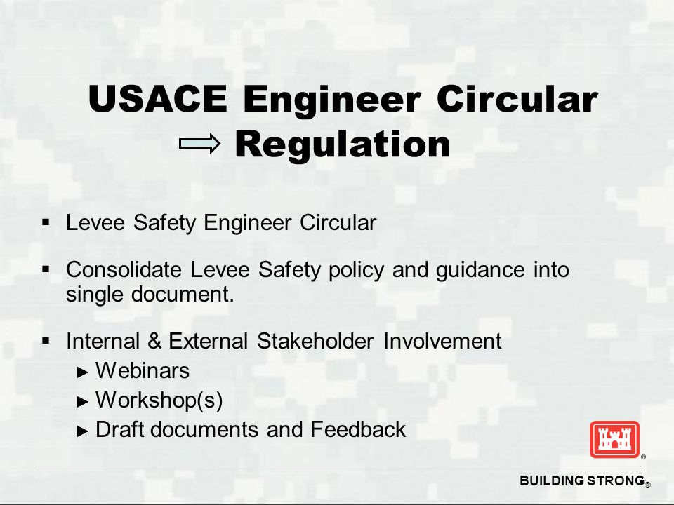 BUILDING STRONG ®  Levee Safety Engineer Circular  Consolidate Levee Safety policy and guidance into single document.