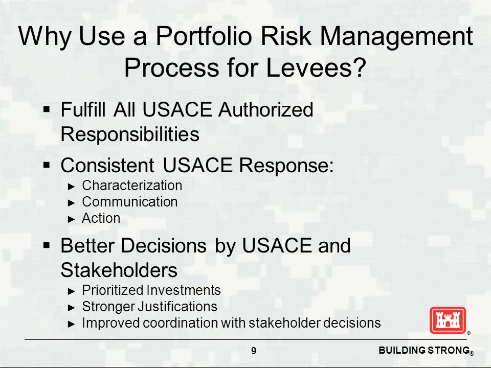 BUILDING STRONG ® Why Use a Portfolio Risk Management Process for Levees.