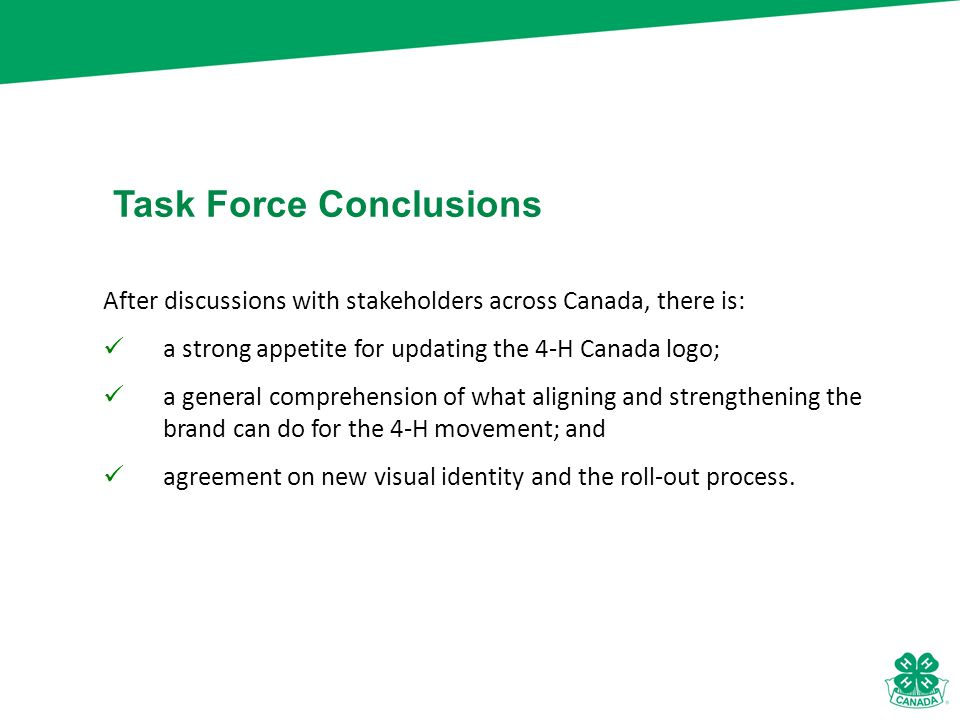 Task Force Conclusions After discussions with stakeholders across Canada, there is: a strong appetite for updating the 4-H Canada logo; a general comprehension of what aligning and strengthening the brand can do for the 4-H movement; and agreement on new visual identity and the roll-out process.