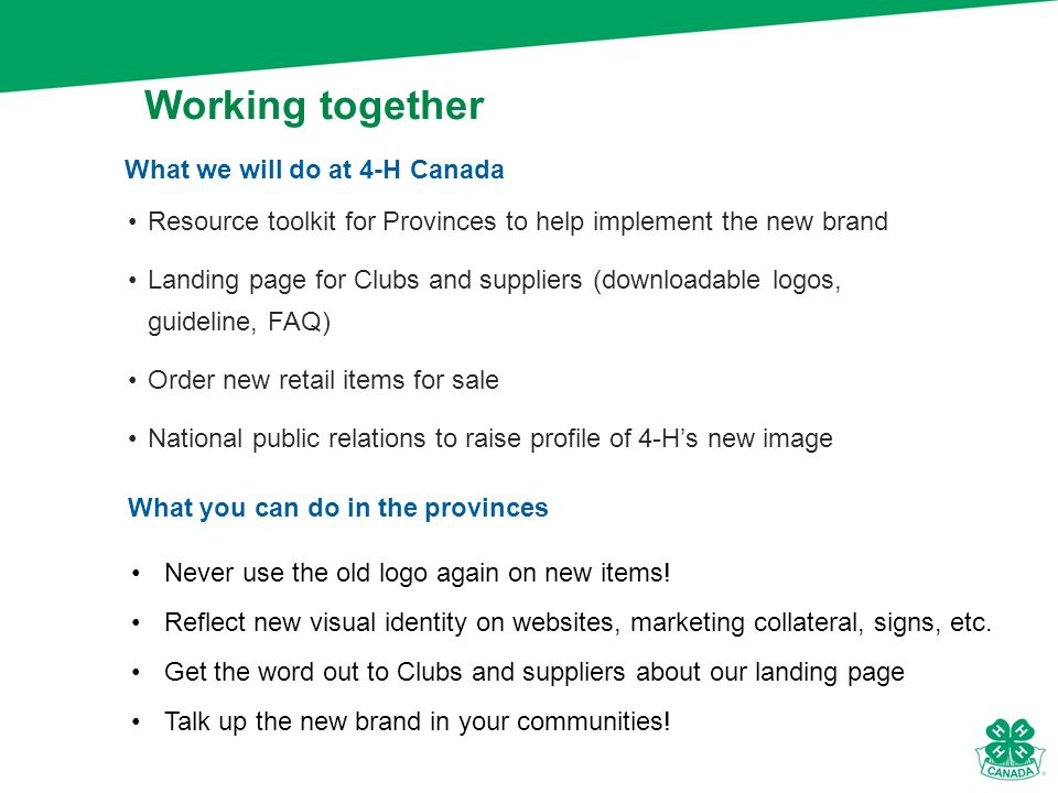 Resource toolkit for Provinces to help implement the new brand Landing page for Clubs and suppliers (downloadable logos, guideline, FAQ) Order new retail items for sale National public relations to raise profile of 4-H's new image What we will do at 4-H Canada Working together What you can do in the provinces Never use the old logo again on new items.