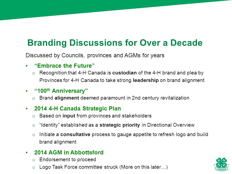 Branding Discussions for Over a Decade Discussed by Councils, provinces and AGMs for years Embrace the Future o Recognition that 4-H Canada is custodian of the 4-H brand and plea by Provinces for 4-H Canada to take strong leadership on brand alignment 100 th Anniversary o Brand alignment deemed paramount in 2nd century revitalization 2014 4-H Canada Strategic Plan o Based on input from provinces and stakeholders o Identity established as a strategic priority in Directional Overview o Initiate a consultative process to gauge appetite to refresh logo and build brand alignment 2014 AGM in Abbottsford o Endorsement to proceed o Logo Task Force committee struck (More on this later…)