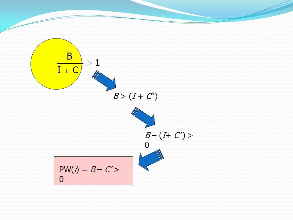 B > (I + C'') B – (I+ C'') > 0 PW(i) = B – C' > 0