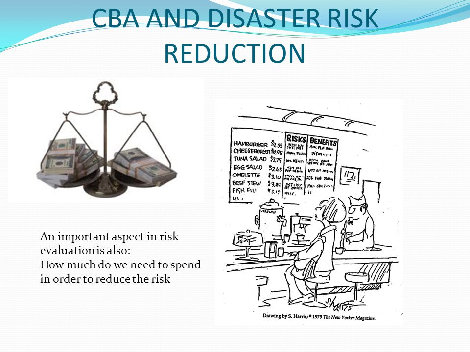 CBA AND DISASTER RISK REDUCTION An important aspect in risk evaluation is also: How much do we need to spend in order to reduce the risk