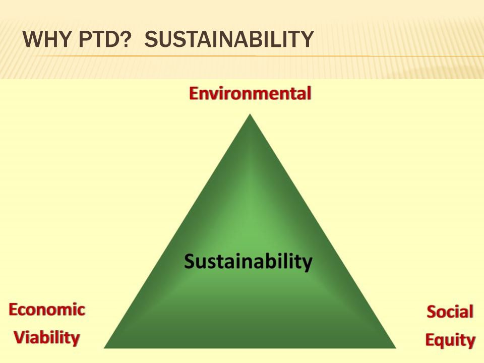 WHY PTD? SUSTAINABILITY