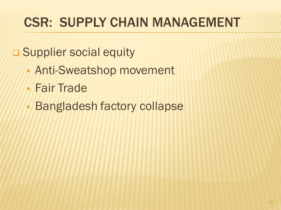 CSR: SUPPLY CHAIN MANAGEMENT  Supplier social equity  Anti-Sweatshop movement  Fair Trade  Bangladesh factory collapse 15