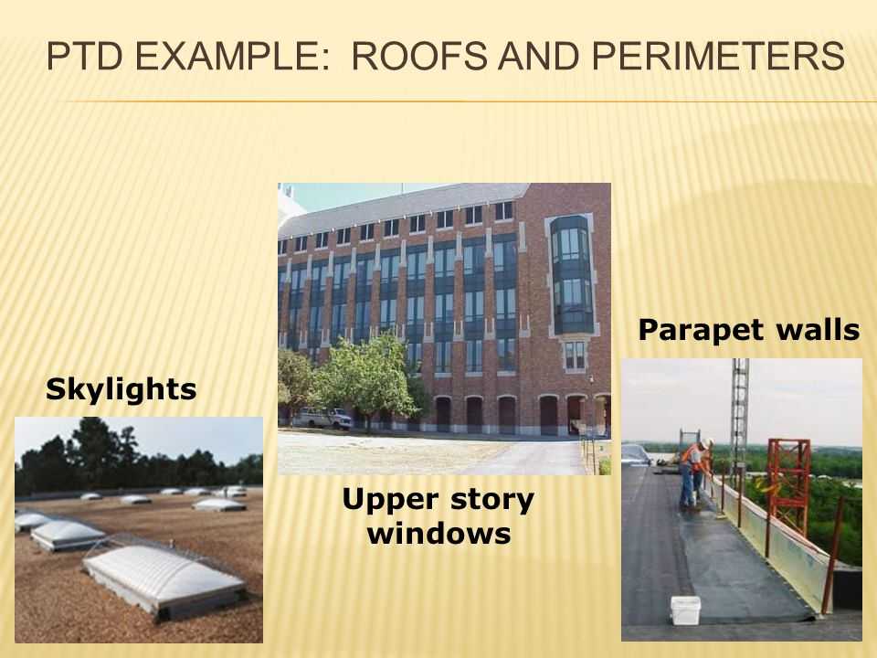 PTD EXAMPLE: ROOFS AND PERIMETERS Skylights Upper story windows Parapet walls