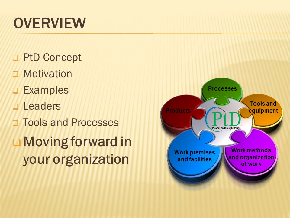 OVERVIEW  PtD Concept  Motivation  Examples  Leaders  Tools and Processes  Moving forward in your organization Work premises and facilities Tools and equipment Processes Products Work methods and organization of work