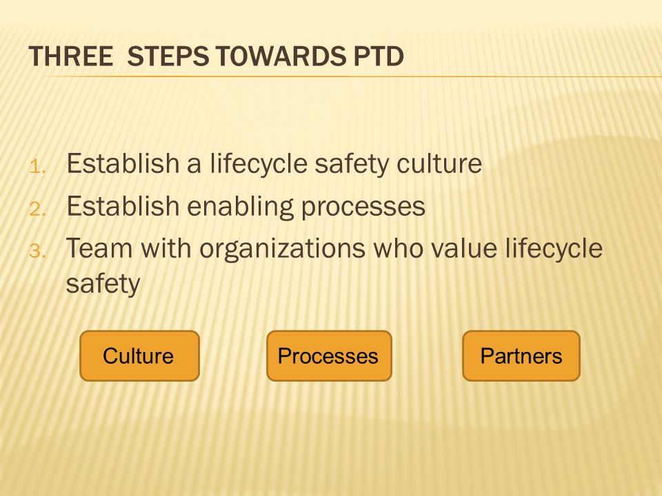 THREE STEPS TOWARDS PTD 1. Establish a lifecycle safety culture 2. Establish enabling processes 3. Team with organizations who value lifecycle safety