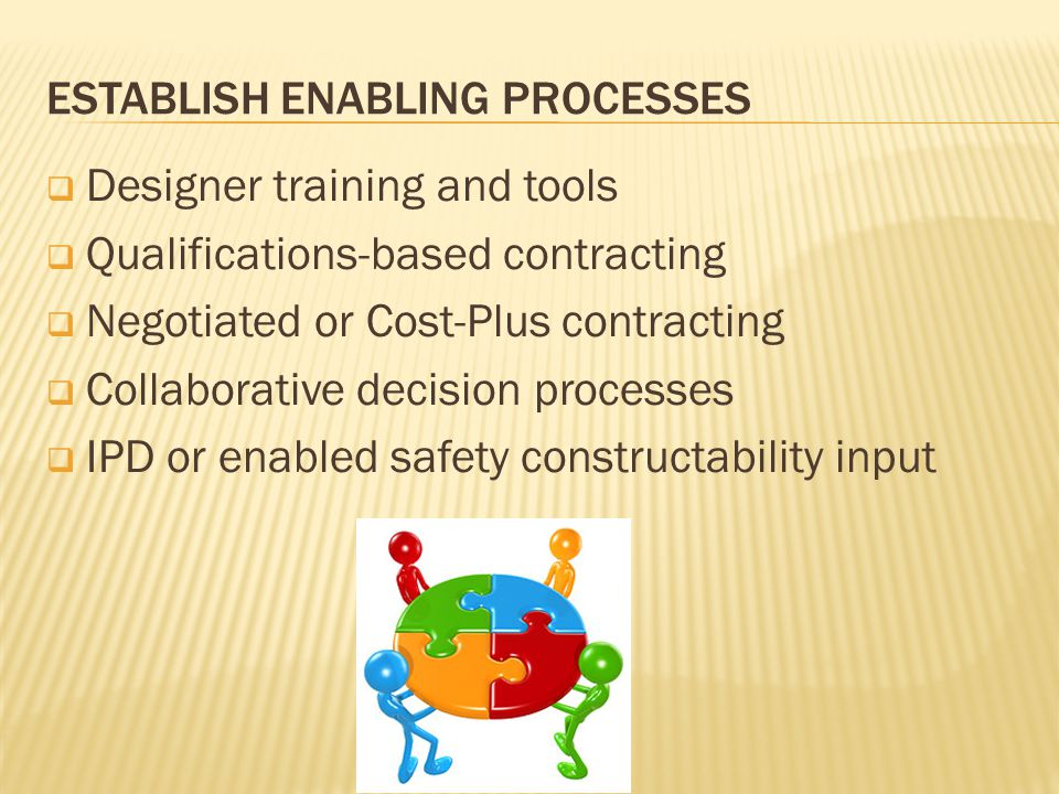 ESTABLISH ENABLING PROCESSES  Designer training and tools  Qualifications-based contracting  Negotiated or Cost-Plus contracting  Collaborative decision processes  IPD or enabled safety constructability input