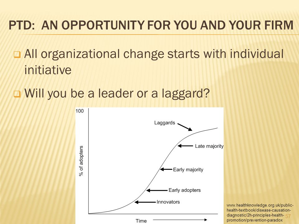 PTD: AN OPPORTUNITY FOR YOU AND YOUR FIRM  All organizational change starts with individual initiative  Will you be a leader or a laggard.