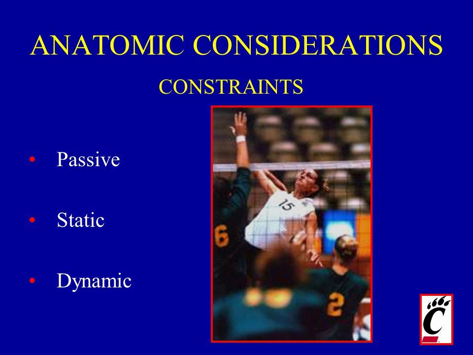 ANATOMIC CONSIDERATIONS Passive Static Dynamic CONSTRAINTS