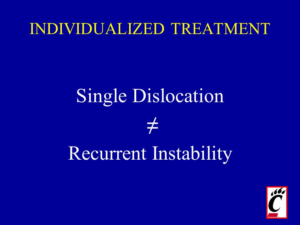 Single Dislocation ≠ Recurrent Instability INDIVIDUALIZED TREATMENT