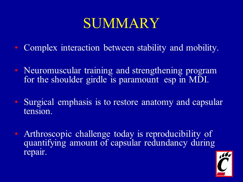 SUMMARY Complex interaction between stability and mobility. Neuromuscular training and strengthening program for the shoulder girdle is paramount esp