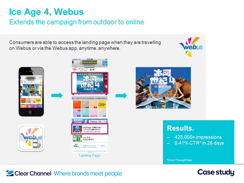 Ice Age 4, Webus Extends the campaign from outdoor to online Consumers are able to access the landing page when they are travelling on Webus or via the Webus app, anytime, anywhere.