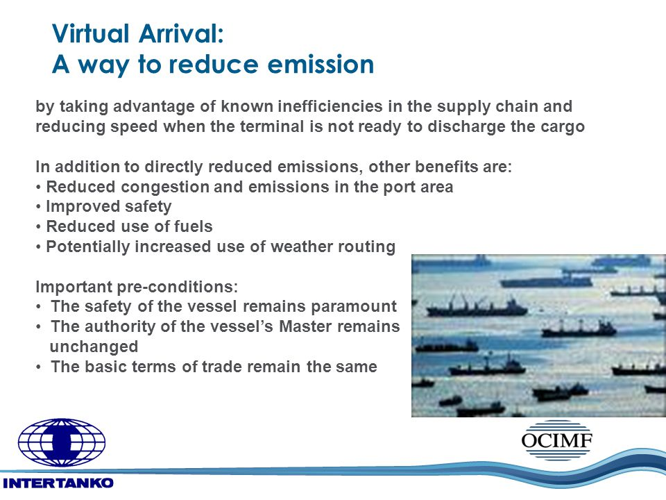 Virtual Arrival: A way to reduce emission by taking advantage of known inefficiencies in the supply chain and reducing speed when the terminal is not