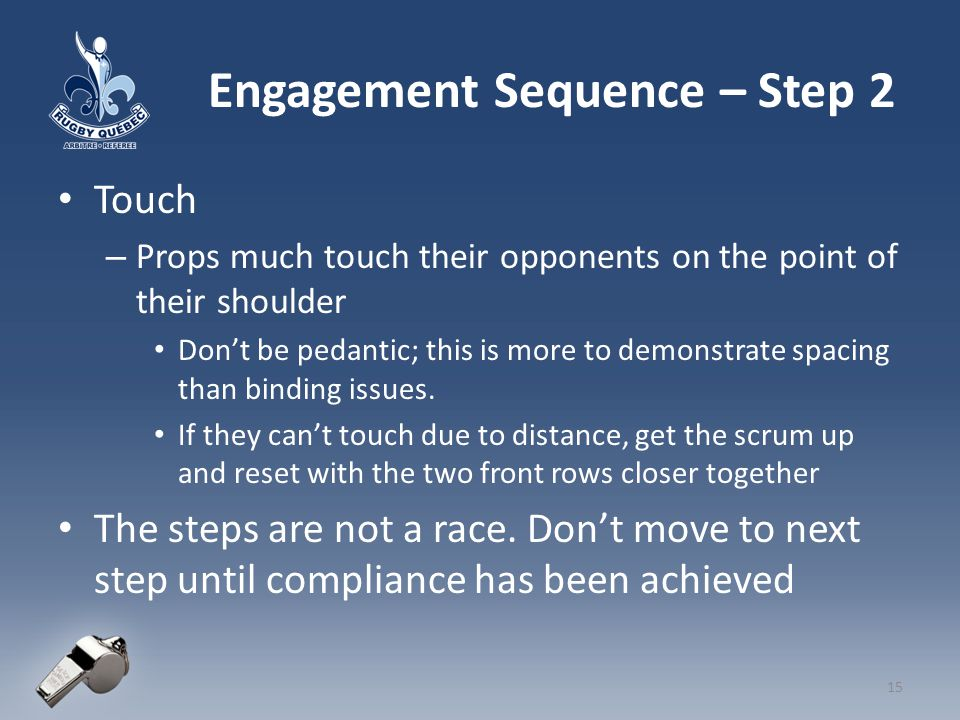 Engagement Sequence – Step 2 Touch – Props much touch their opponents on the point of their shoulder Don't be pedantic; this is more to demonstrate spacing than binding issues.