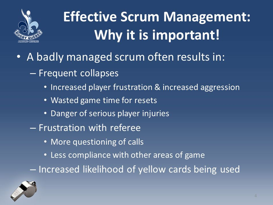 Managing the Scrum When do you start to manage the scrum.