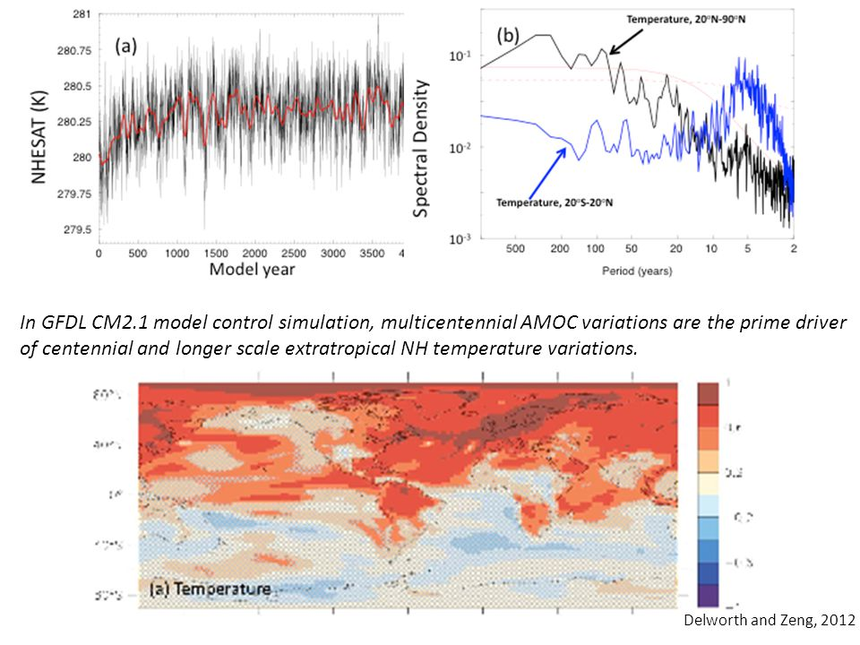 In GFDL CM2.1 model control simulation, multicentennial AMOC variations are the prime driver of centennial and longer scale extratropical NH temperature variations.