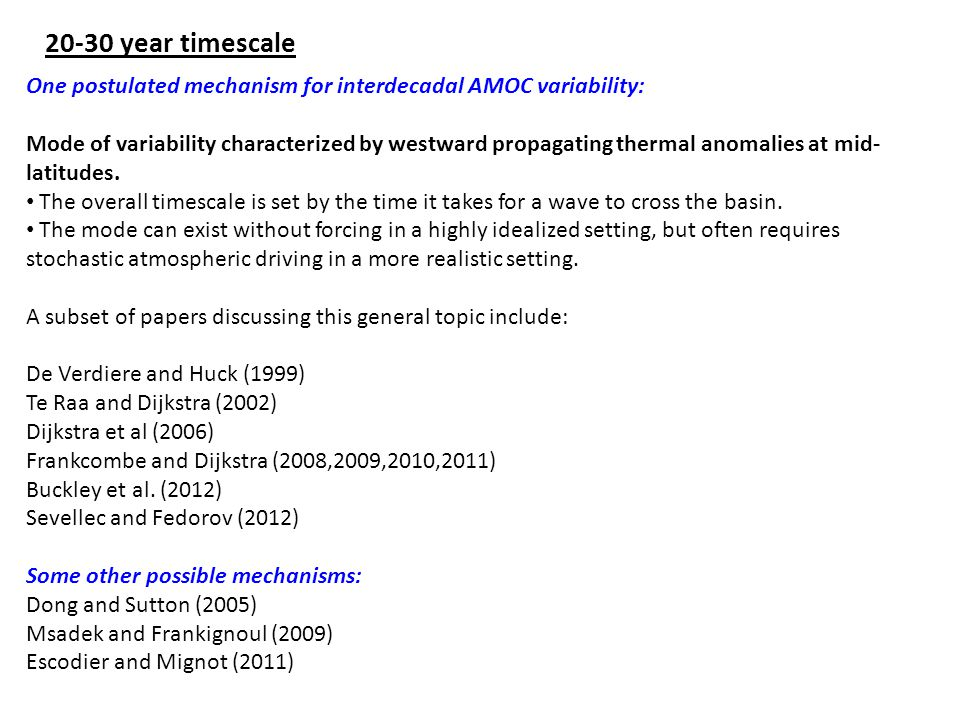 20-30 year timescale One postulated mechanism for interdecadal AMOC variability: Mode of variability characterized by westward propagating thermal anomalies at mid- latitudes.