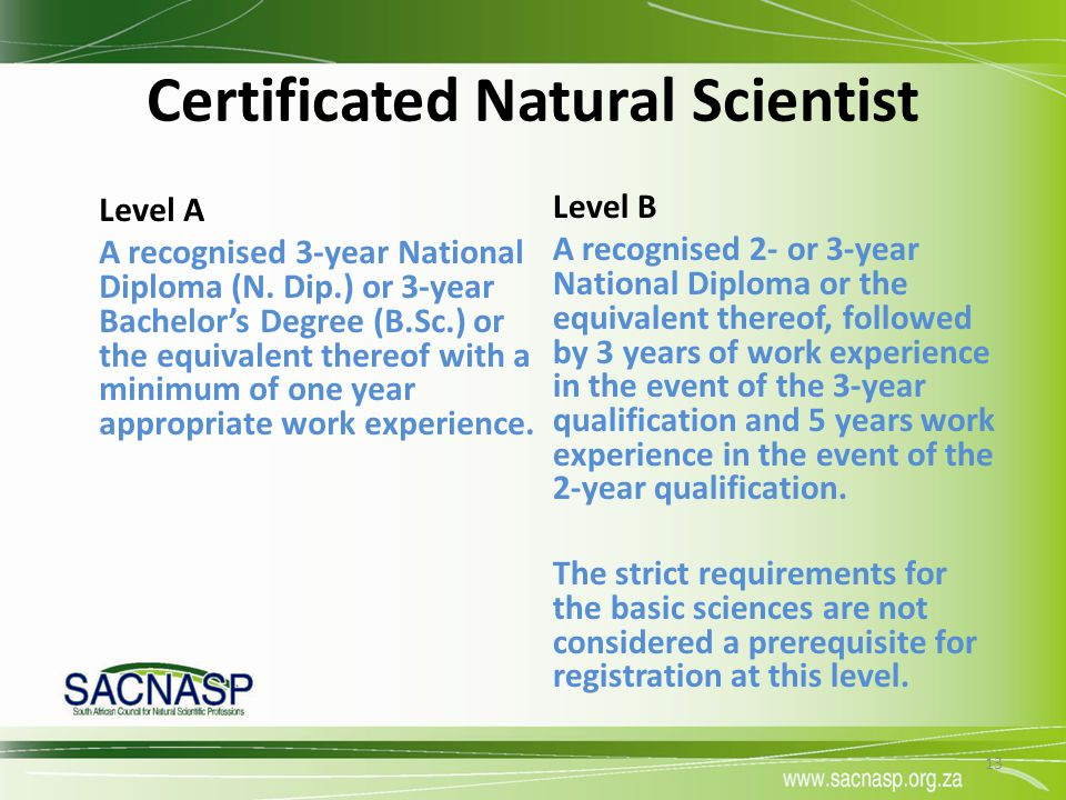 Certificated Natural Scientist Level A A recognised 3-year National Diploma (N. Dip.) or 3-year Bachelor's Degree (B.Sc.) or the equivalent thereof wi
