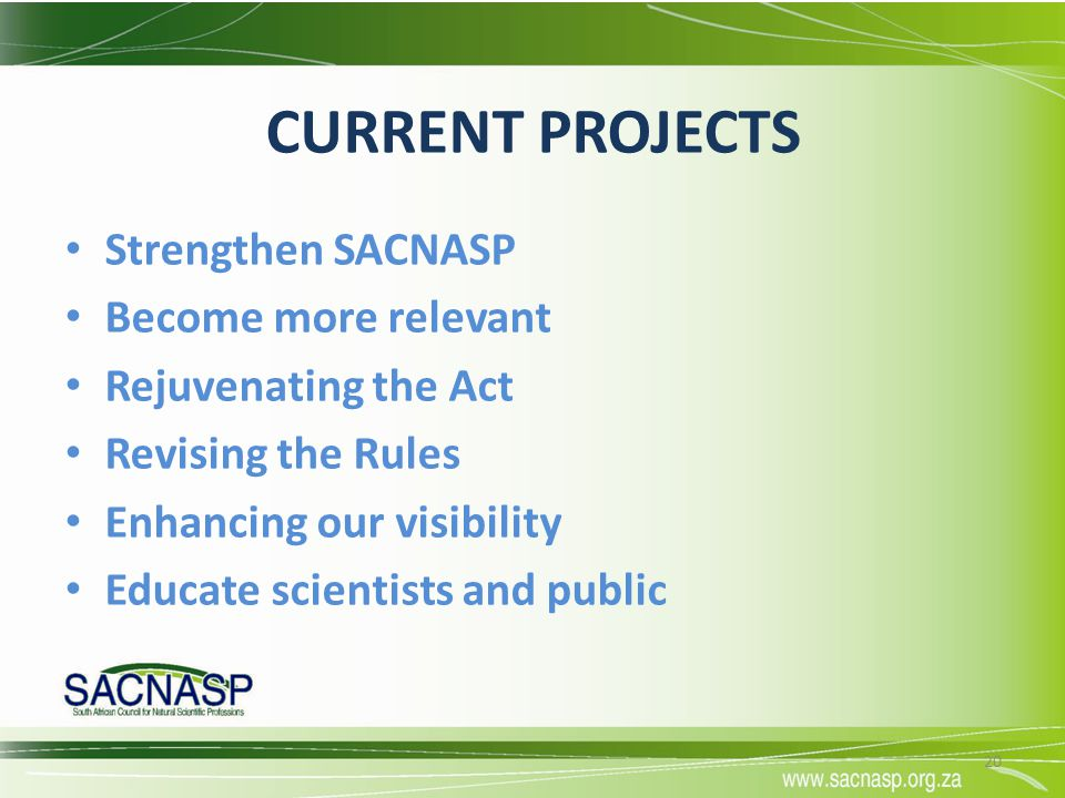 CURRENT PROJECTS Strengthen SACNASP Become more relevant Rejuvenating the Act Revising the Rules Enhancing our visibility Educate scientists and publi
