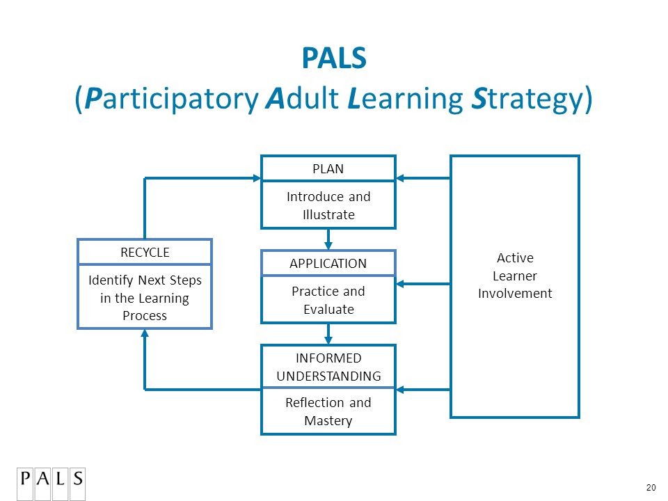 20 PALS (Participatory Adult Learning Strategy) PLAN APPLICATION RECYCLE Active Learner Involvement Reflection and Mastery Practice and Evaluate Introduce and Illustrate Identify Next Steps in the Learning Process INFORMED UNDERSTANDING