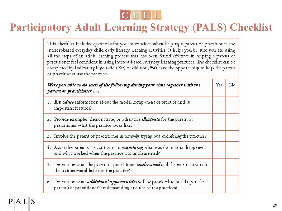 29 Participatory Adult Learning Strategy (PALS) Checklist