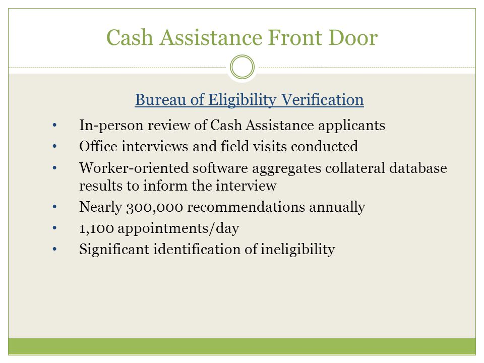 Cash Assistance Front Door Bureau of Eligibility Verification In-person review of Cash Assistance applicants Office interviews and field visits conducted Worker-oriented software aggregates collateral database results to inform the interview Nearly 300,000 recommendations annually 1,100 appointments/day Significant identification of ineligibility