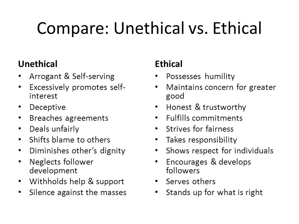 Compare: Unethical vs.