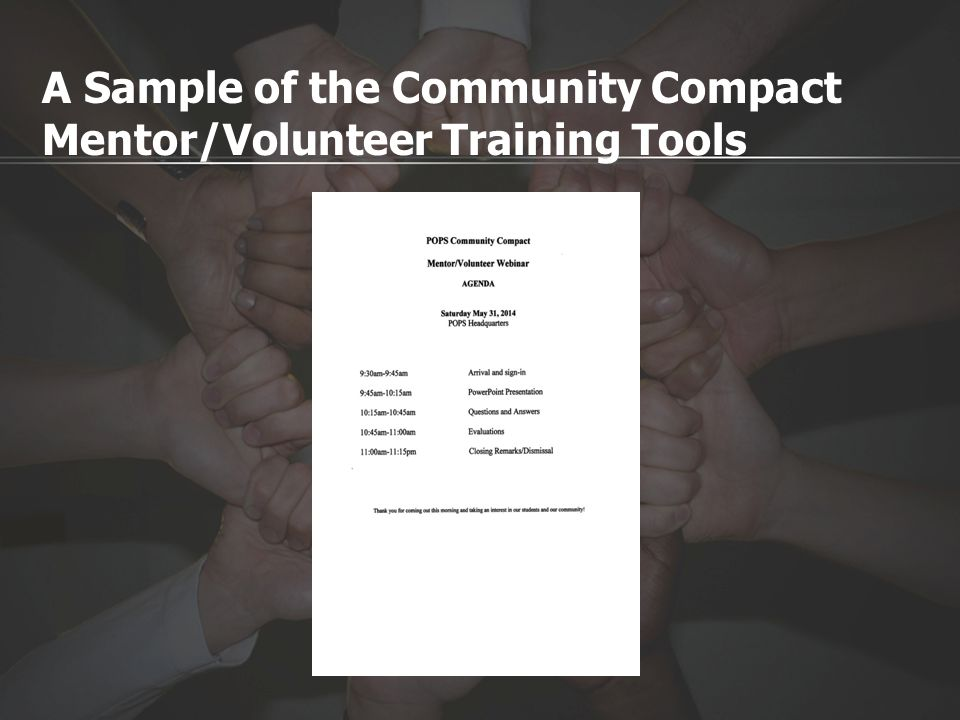 A Sample of the Community Compact Mentor/Volunteer Training Tools