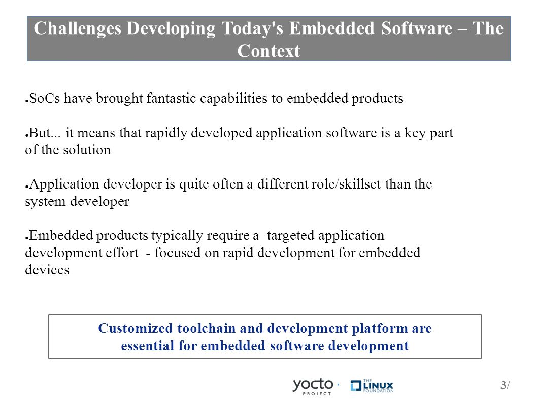 3/3/ Challenges Developing Today s Embedded Software – The Context ● SoCs have brought fantastic capabilities to embedded products ● But...