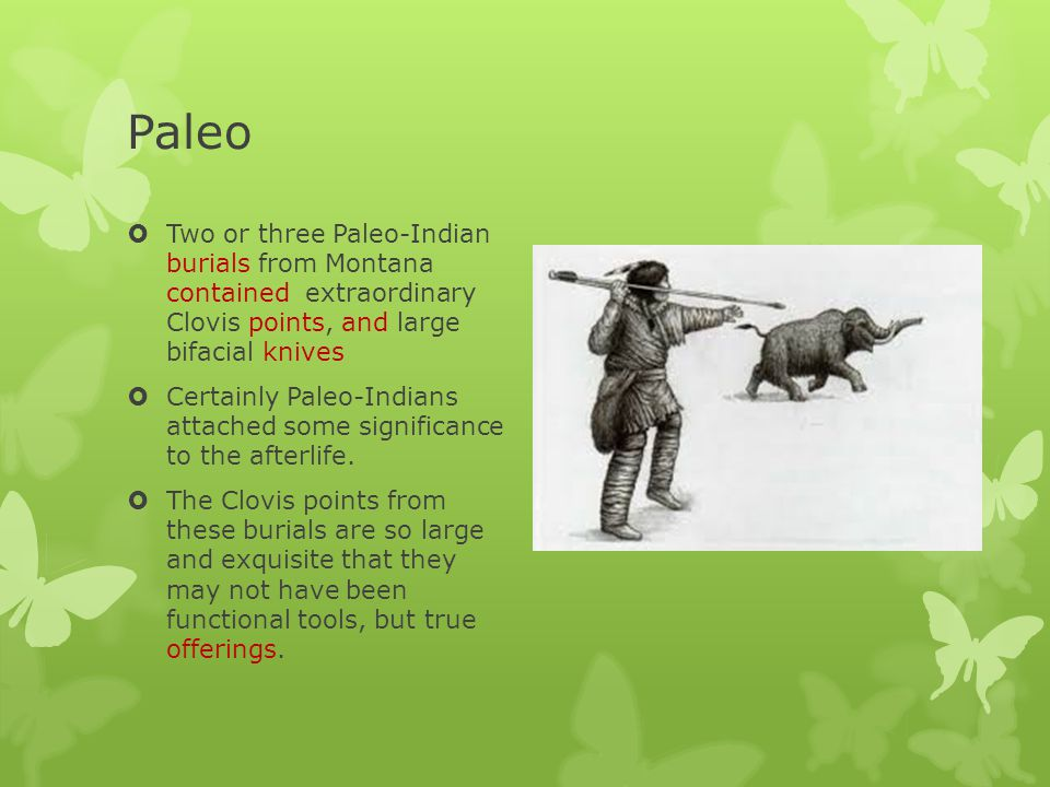 Paleo Indians ClothesAnimal hide & fur HousingSkin tents; caves; pit-houses Evidence of Religion Buried with points and knives so large that they could be offerings