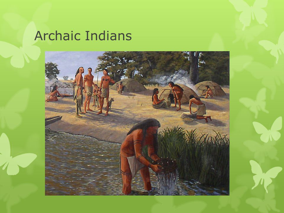 Archaic  8,000 BCE to 1,000 BCE  Spread of pine forests  Megafauna had become extinct  Becoming drier and warmer