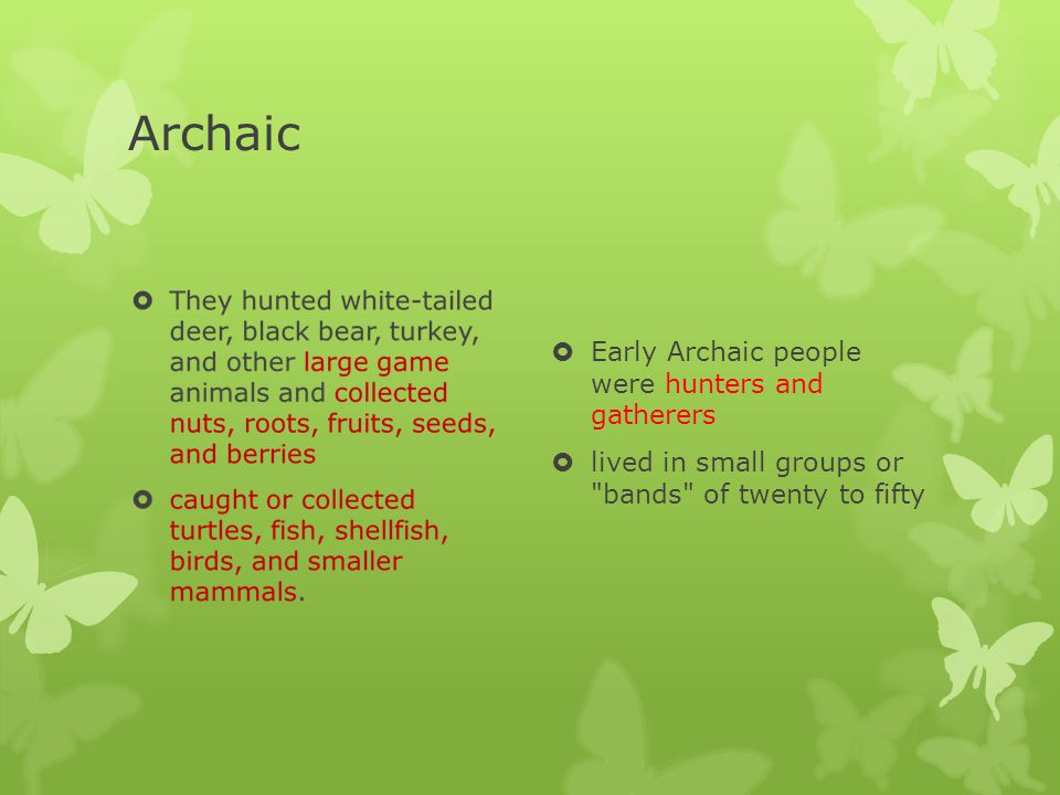 Archaic  Archaic bands probably moved around in search of seasonal foods, mates outside of their social group, and sources of stone from which they could make spear points and other tools  There is little archaeological evidence that they stored foods or stayed for long at one location