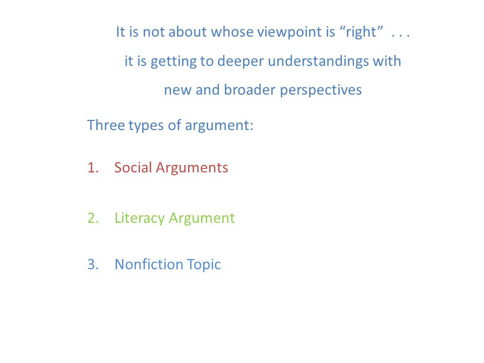 """It is not about whose viewpoint is """"right""""... it is getting to deeper understandings with new and broader perspectives Three types of argument: 1.Soci"""