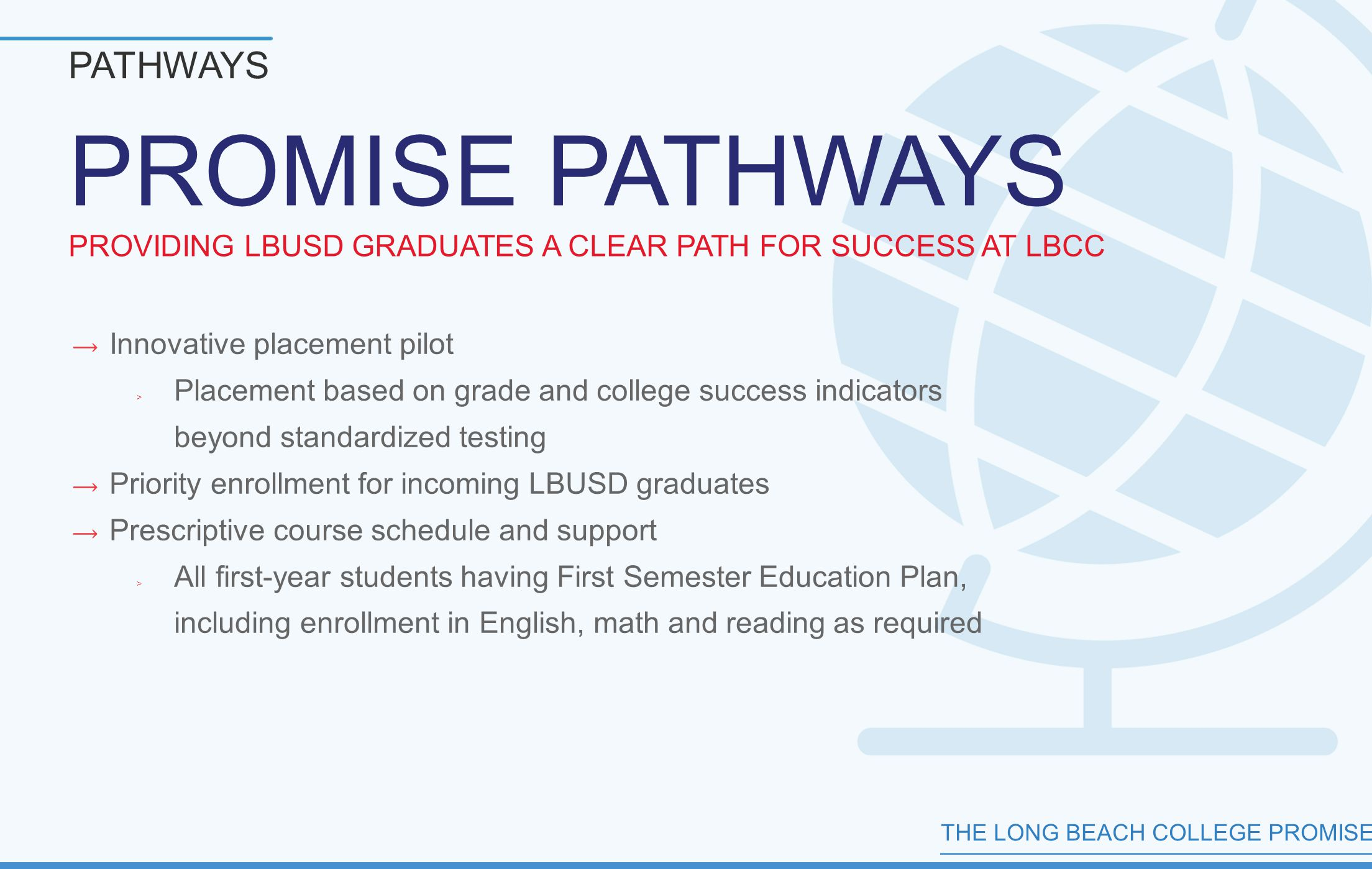 THE LONG BEACH COLLEGE PROMISE PROMISE PATHWAYS PROVIDING LBUSD GRADUATES A CLEAR PATH FOR SUCCESS AT LBCC PATHWAYS  Innovative placement pilot ﹥ Placement based on grade and college success indicators beyond standardized testing  Priority enrollment for incoming LBUSD graduates  Prescriptive course schedule and support ﹥ All first-year students having First Semester Education Plan, including enrollment in English, math and reading as required