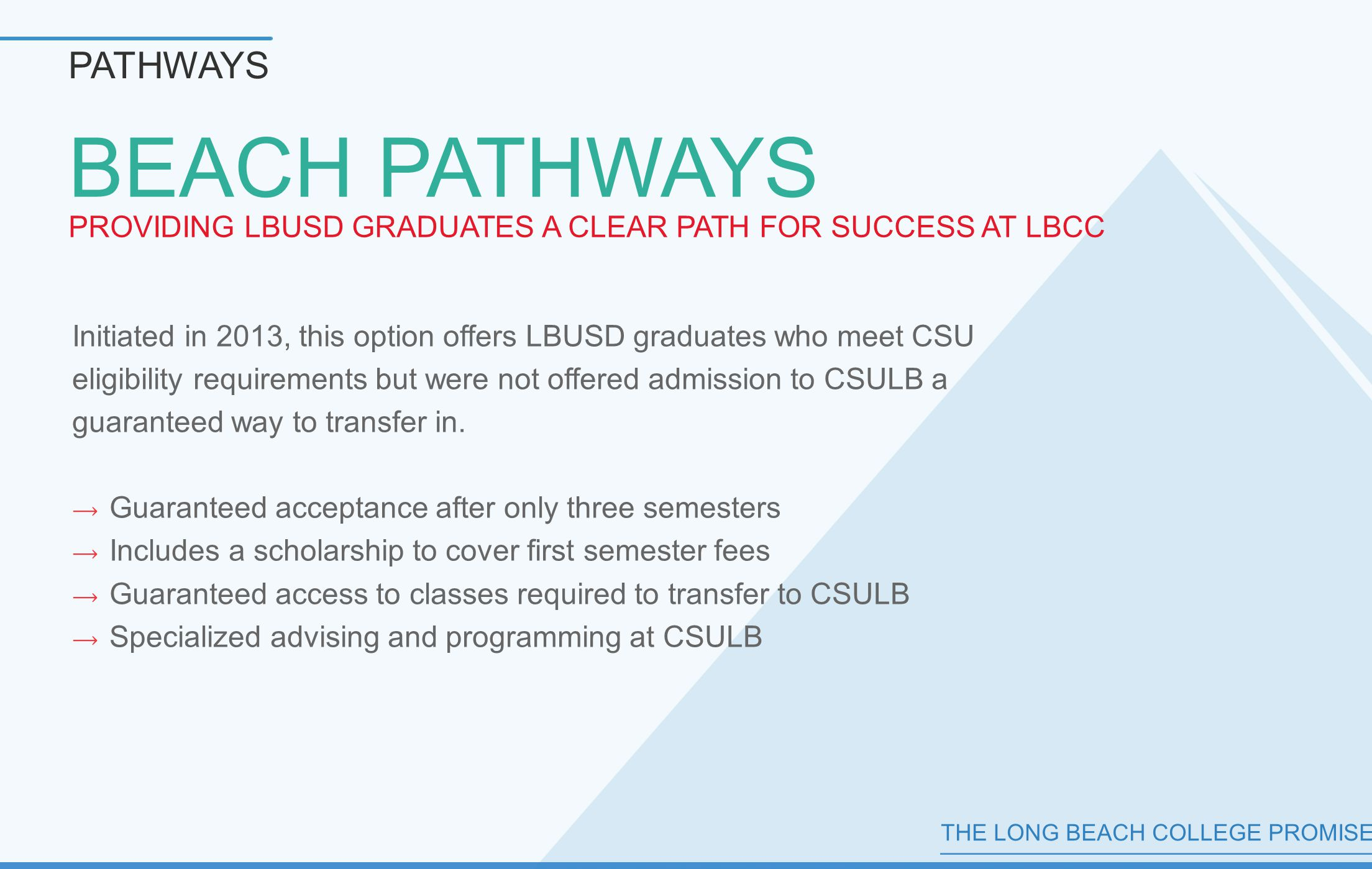 THE LONG BEACH COLLEGE PROMISE BEACH PATHWAYS PROVIDING LBUSD GRADUATES A CLEAR PATH FOR SUCCESS AT LBCC PATHWAYS Initiated in 2013, this option offers LBUSD graduates who meet CSU eligibility requirements but were not offered admission to CSULB a guaranteed way to transfer in.