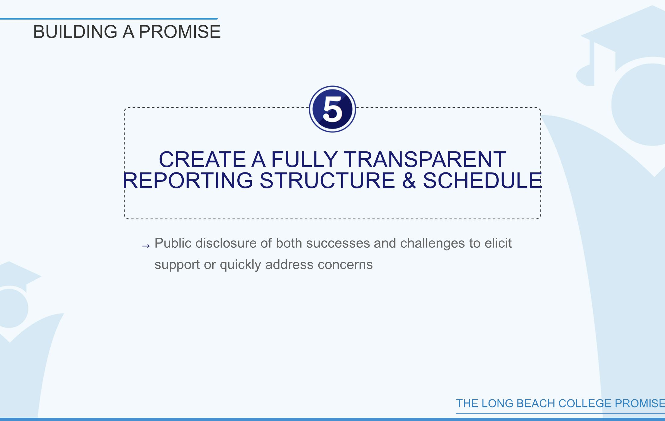THE LONG BEACH COLLEGE PROMISE BUILDING A PROMISE CREATE A FULLY TRANSPARENT REPORTING STRUCTURE & SCHEDULE Public disclosure of both successes and challenges to elicit support or quickly address concerns